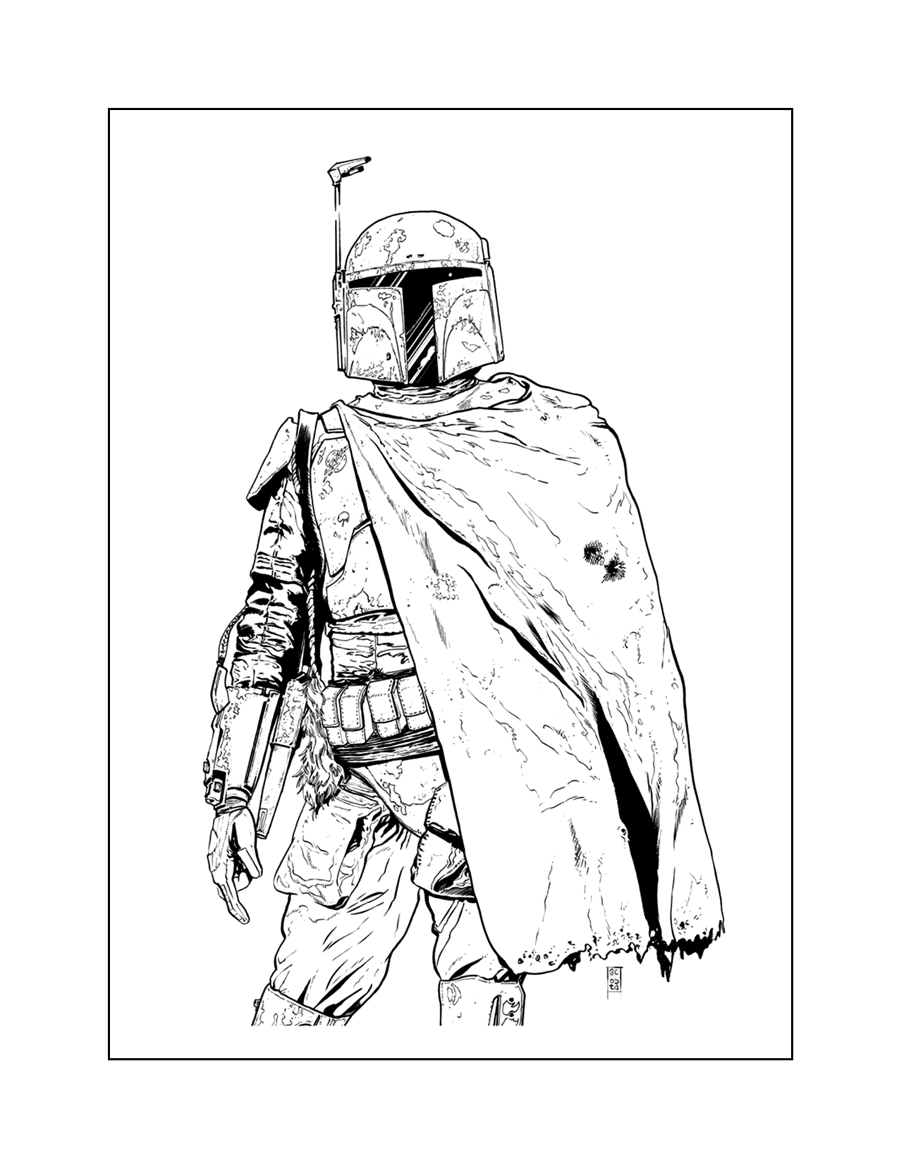 Boba Fett With Cape Coloring Page