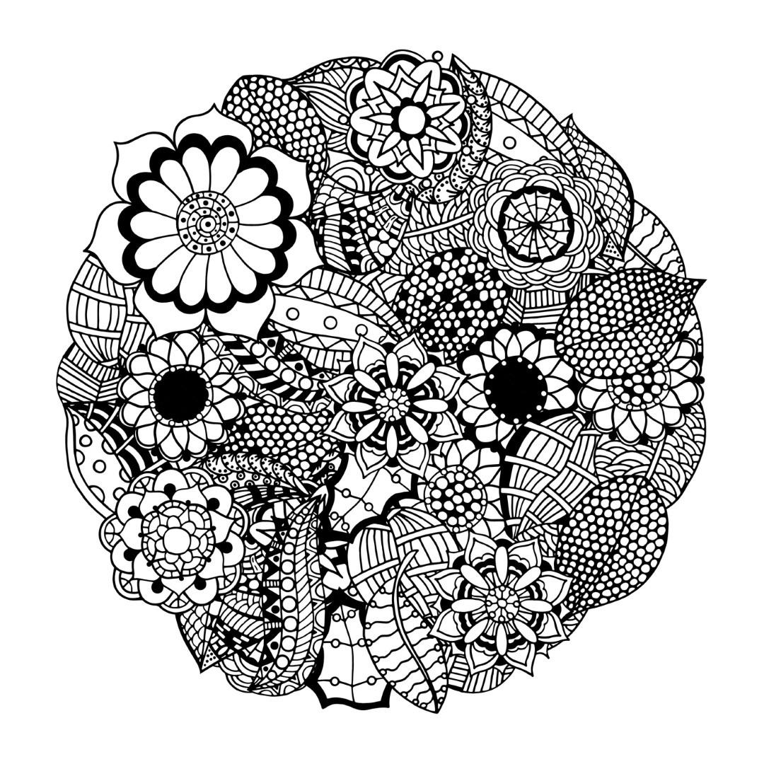Bold Bubbly Flower Mandala Coloring Pages