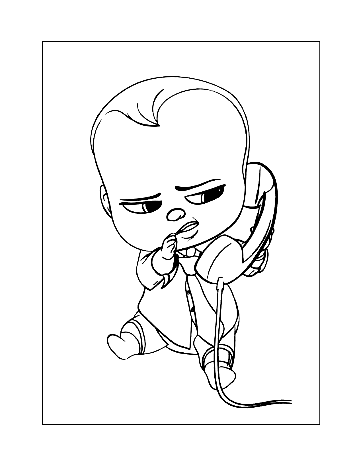 Boss Baby On The Phone Coloring Page