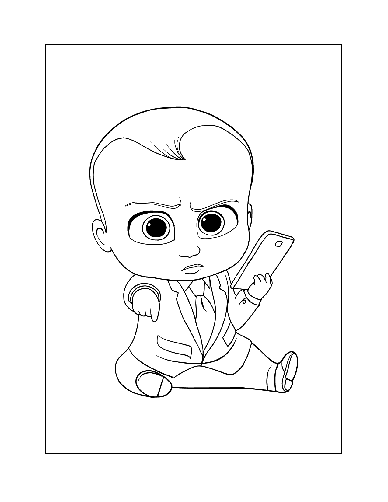 Boss Baby On Phone Coloring Page
