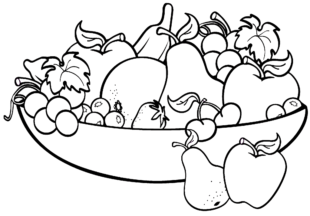 Bowl of Fruit with Apples Coloring Page