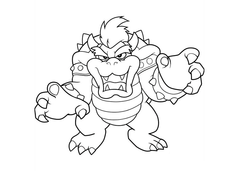 Bowser Super Mario Coloring Page
