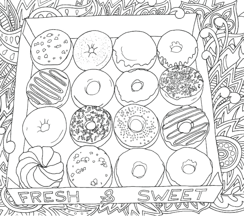 Box of Donuts Coloring Page
