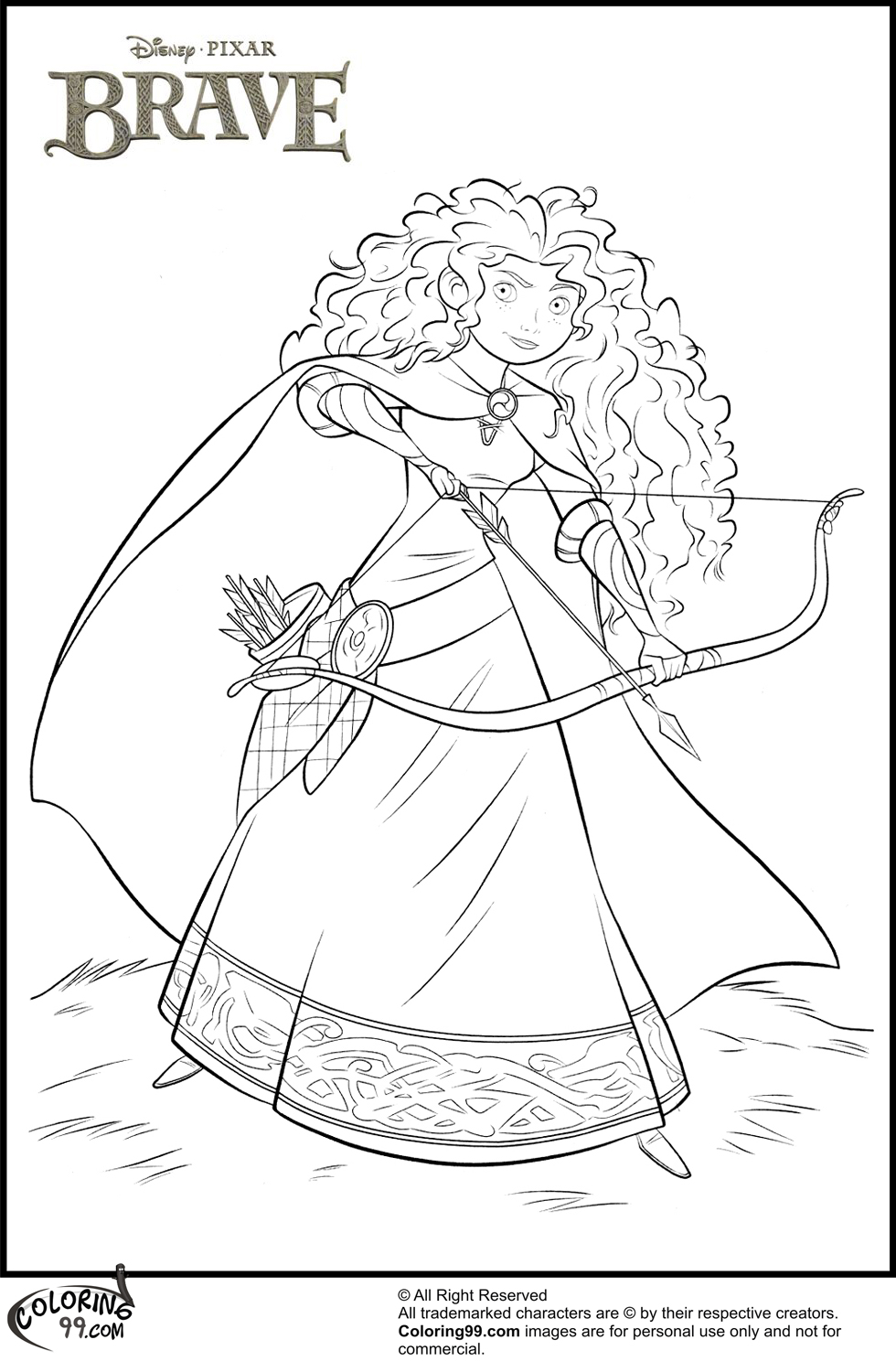 Brave Merida Disney Princess Coloring Page