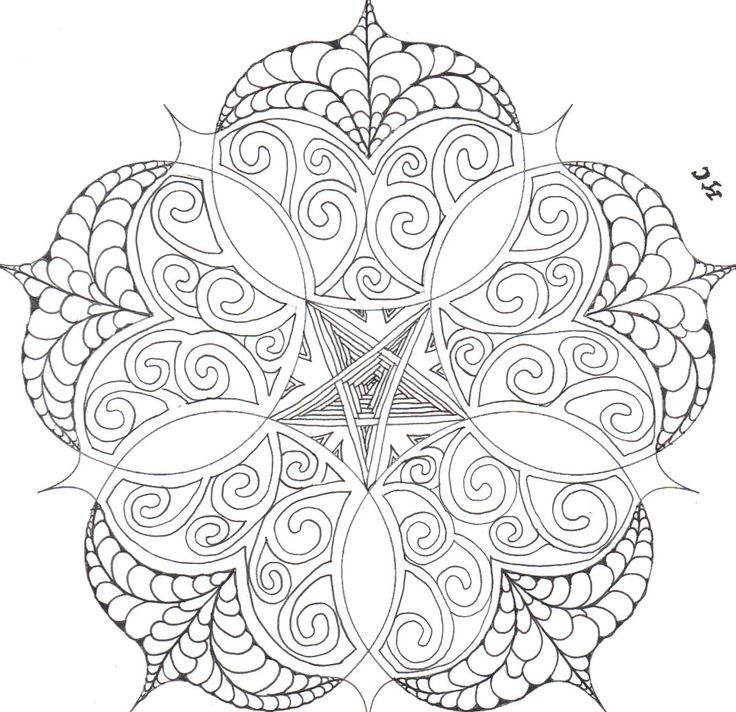 Bubbly Flower Shape Mandala to Color