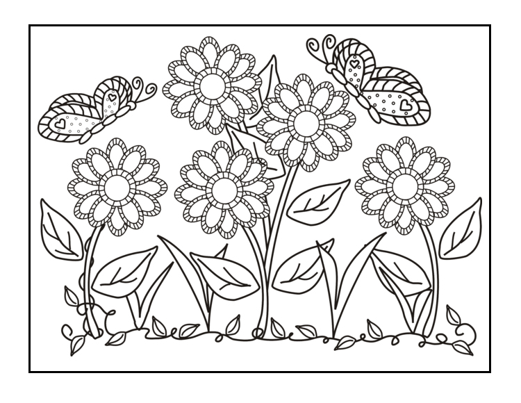 Butterflies and Flowers Coloring Pages