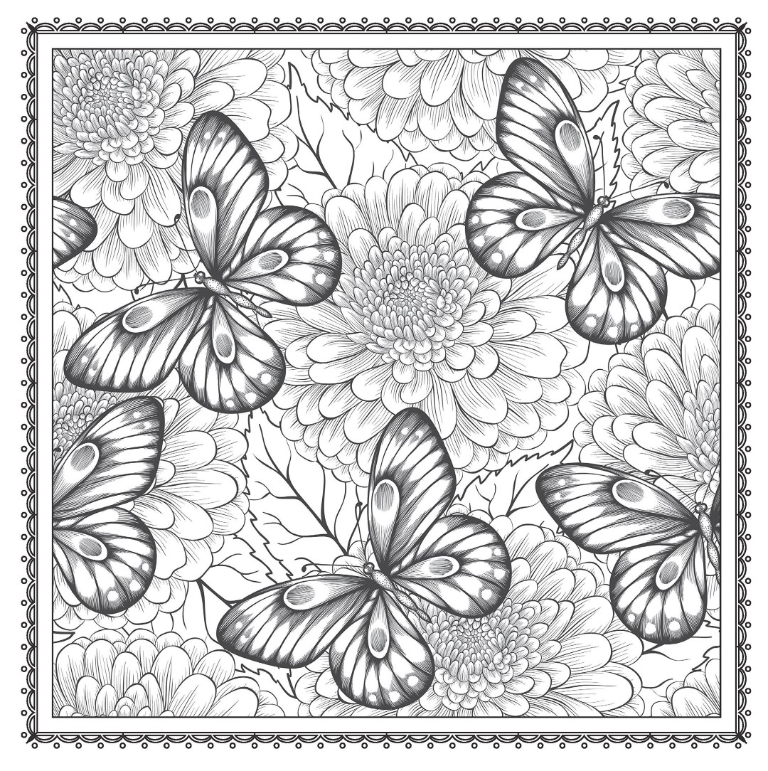 Butterflies in Flowers Adult Coloring Pages