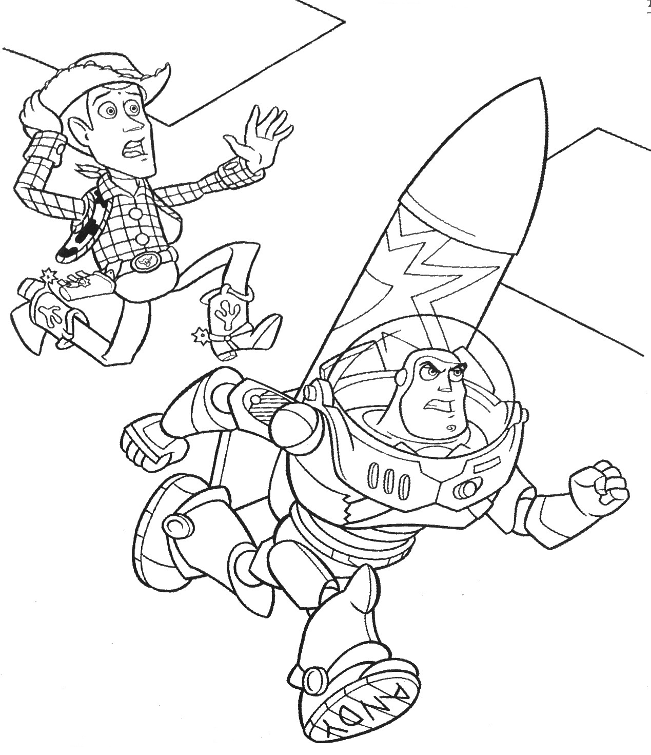 Buzz and Woody Rocket Toy Story Coloring Pages