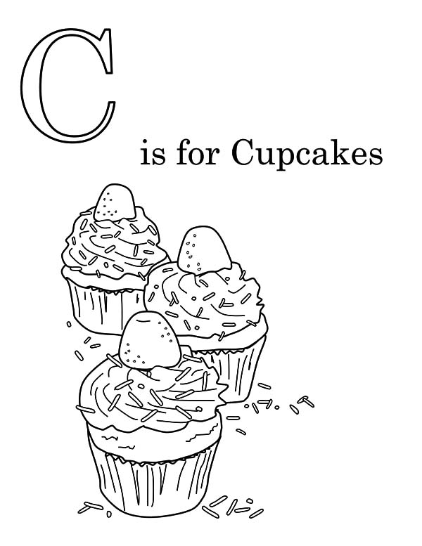 C is for Cupcake Coloring Pages
