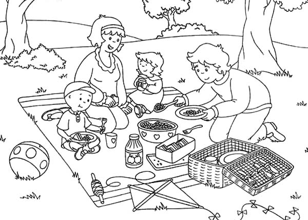 Caillou Picnic Summer Coloring Page
