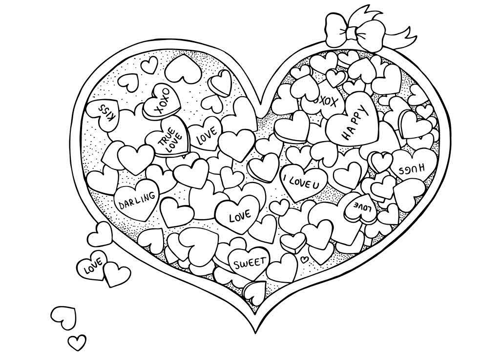 Candy Hearts Valentines Day Coloring Page for Adults