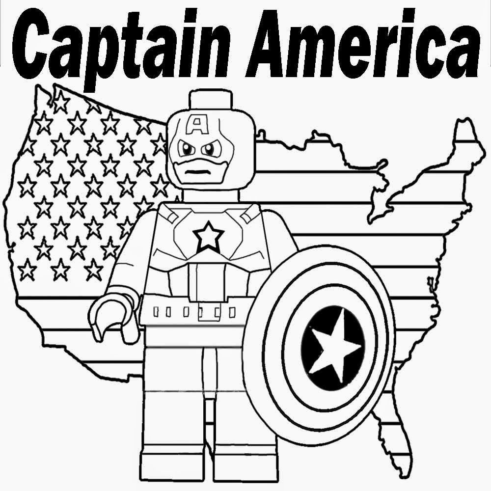 Captain America Lego Avengers Coloring Page