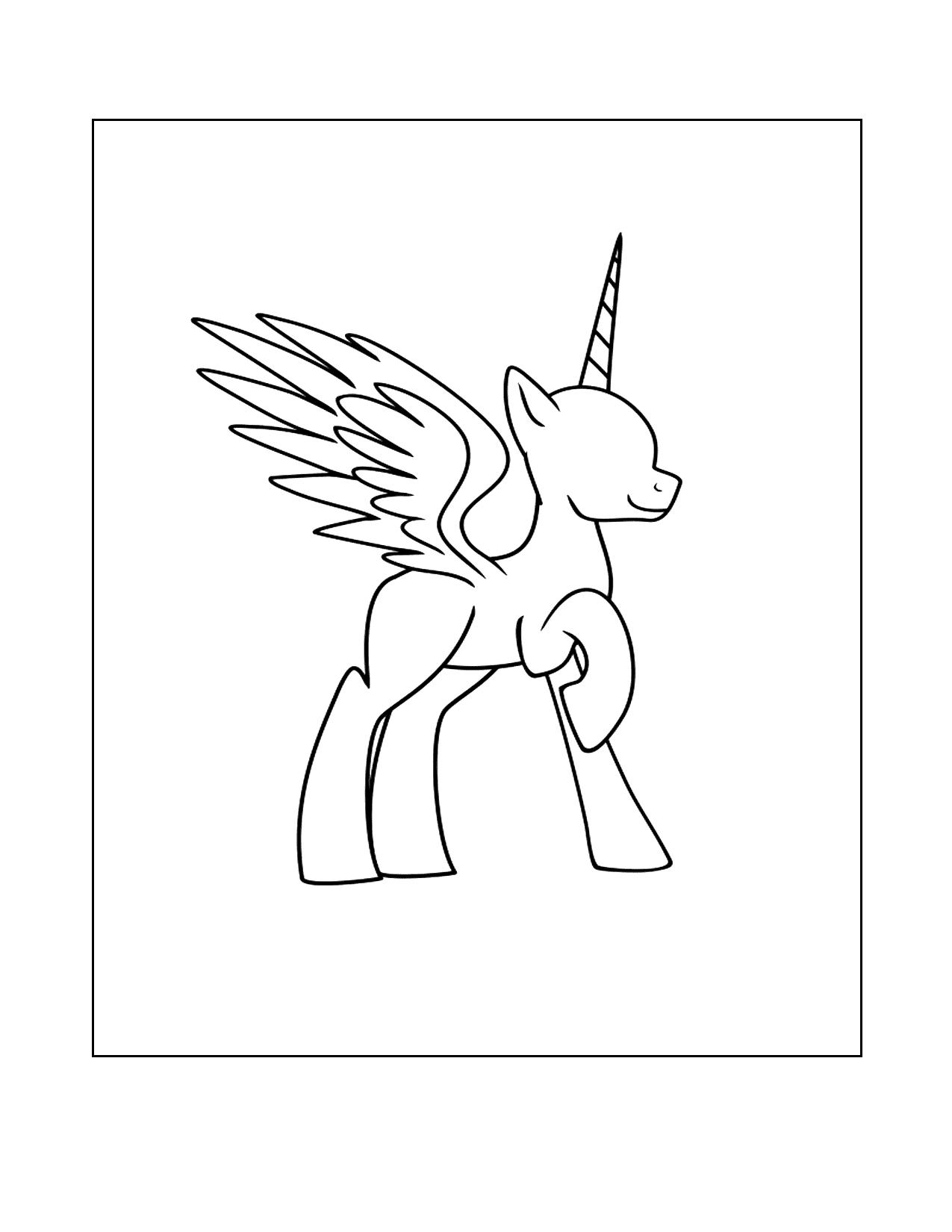 Cartoon Alicorn Coloring Page