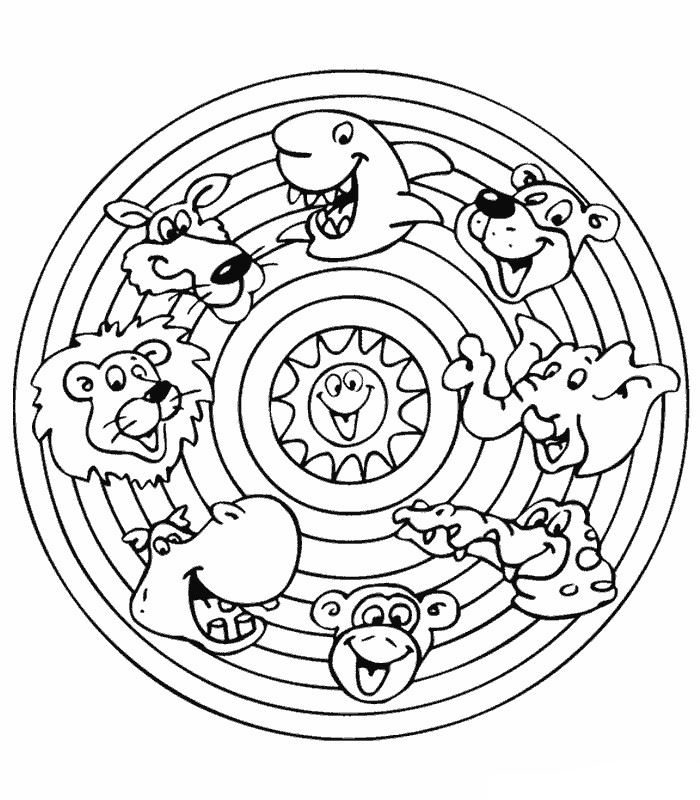 Cartoon Animal Mandala for Kids