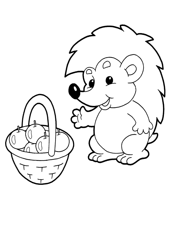 Cartoon Hedgehog With A Basket Of Apples Coloring Page