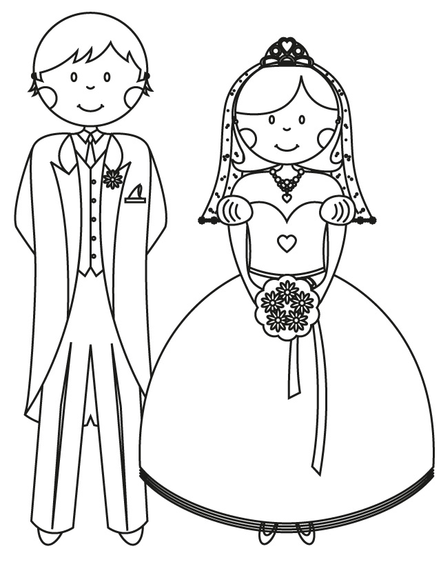 Cartoon Wedding Cake Topper Couple Coloring Page