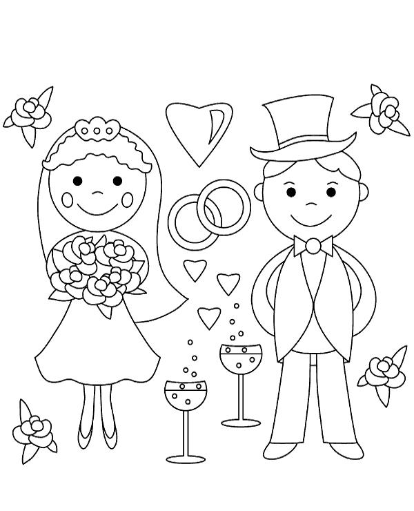 Cartoon Wedding Coloring Page