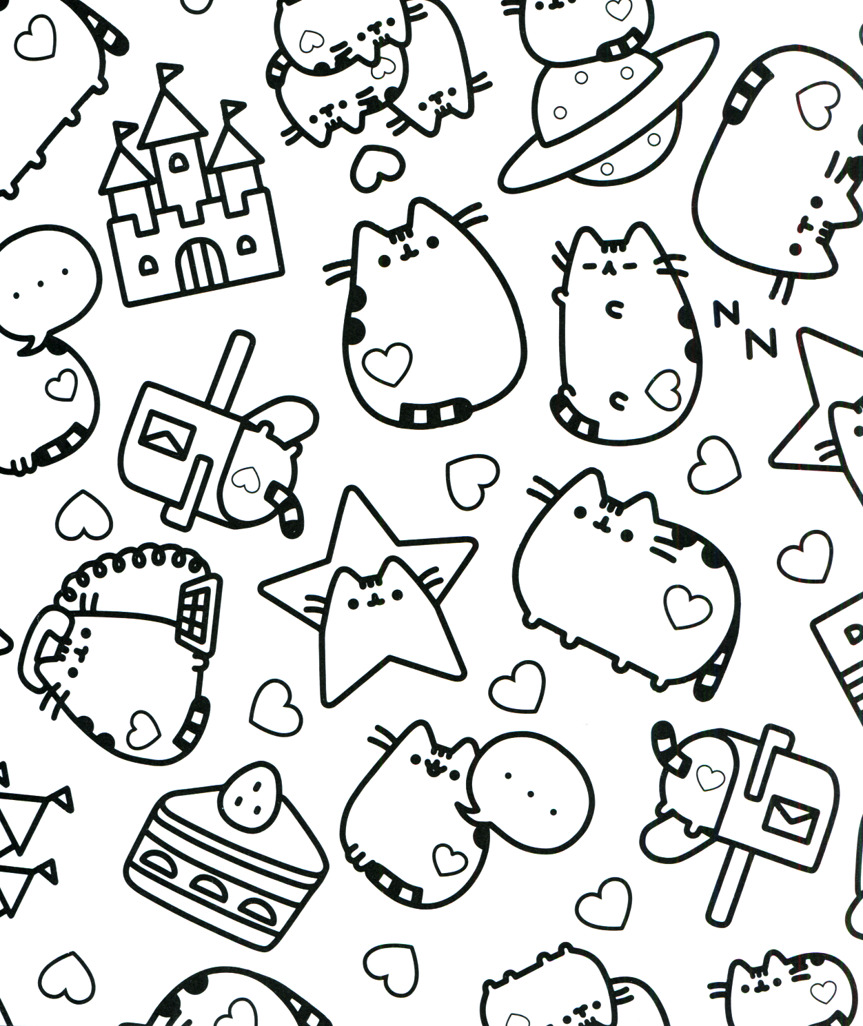 Cat Kawaii Coloring Pages