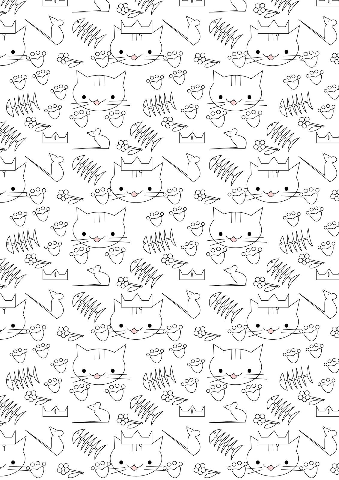Cat Pattern WallPaper to Print