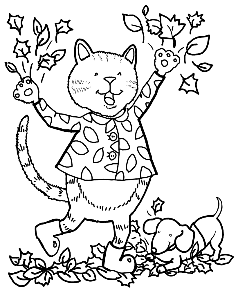 - Cat And Dog In Fall Leaves Coloring Page – Coloring.rocks!