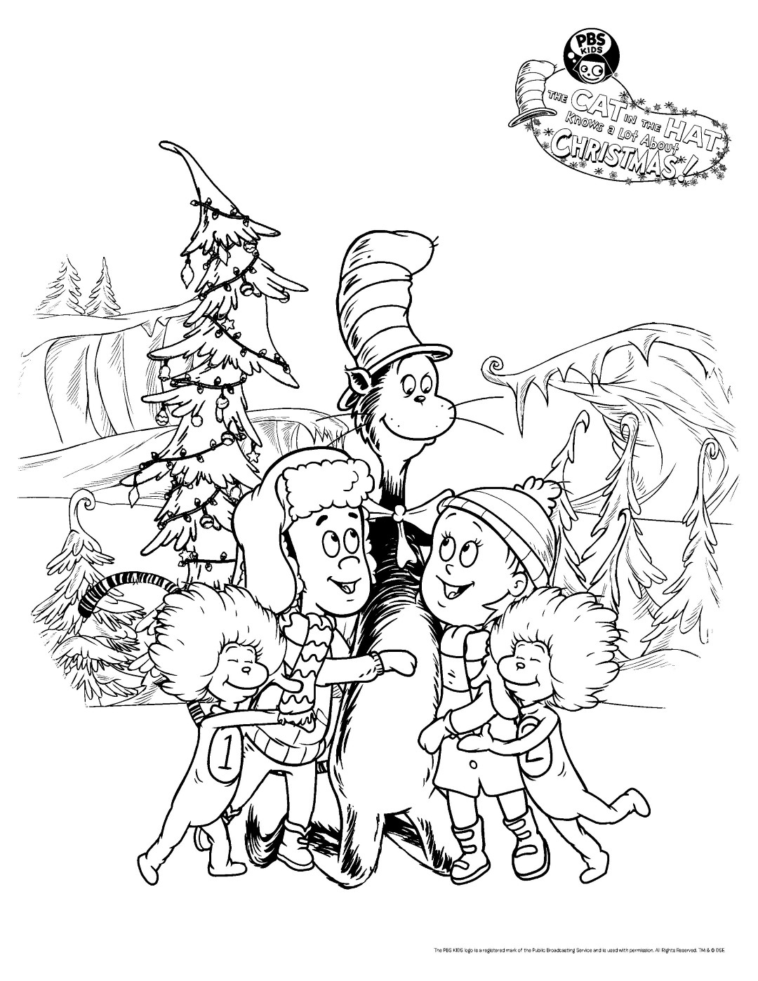 Cat in the Hat Christmas Coloring Pages