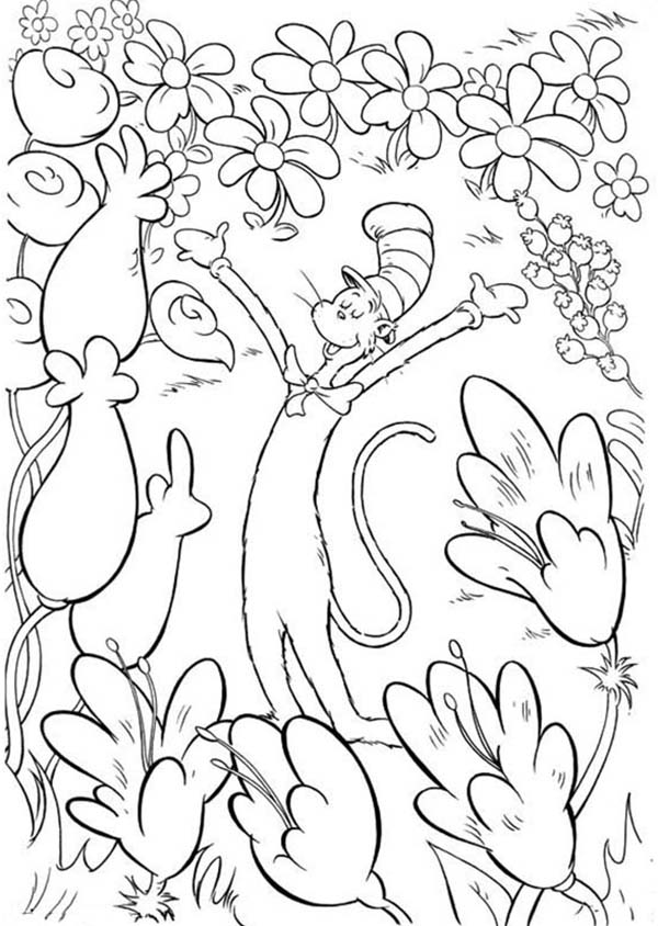 Cat in the Hat Loves Flowers - Coloring Pages