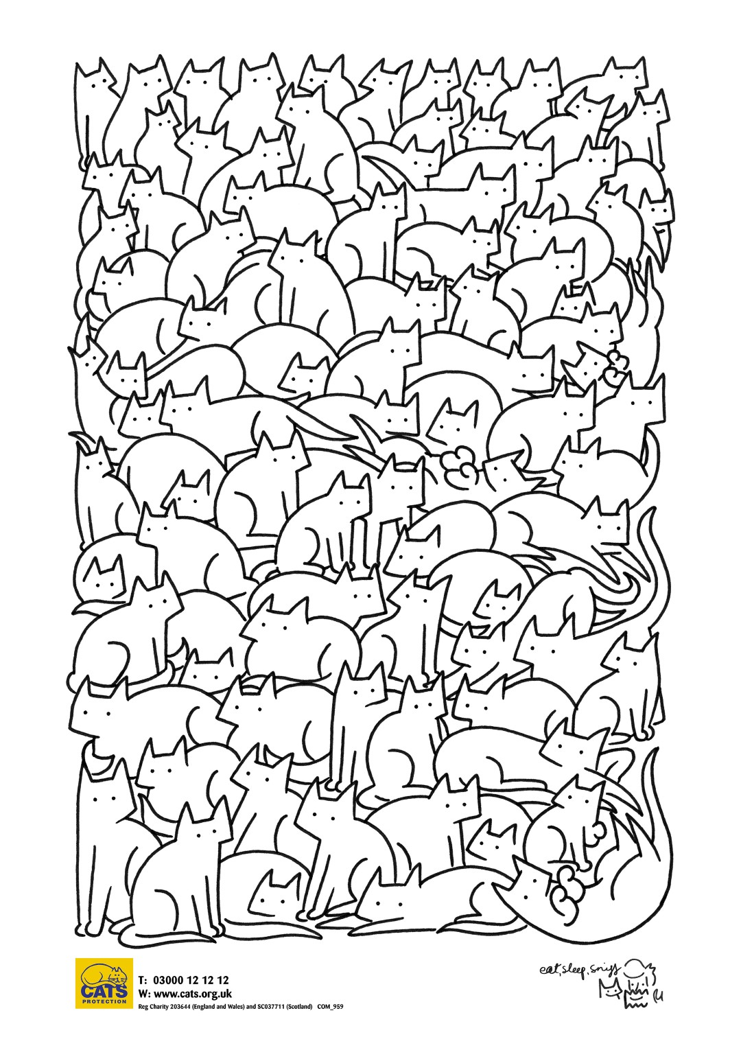 Cats Pattern Art to Color