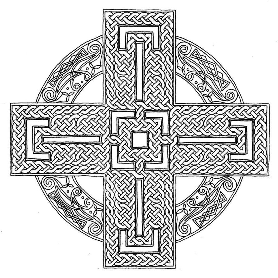 Celtic Cross Coloring Page Advanced