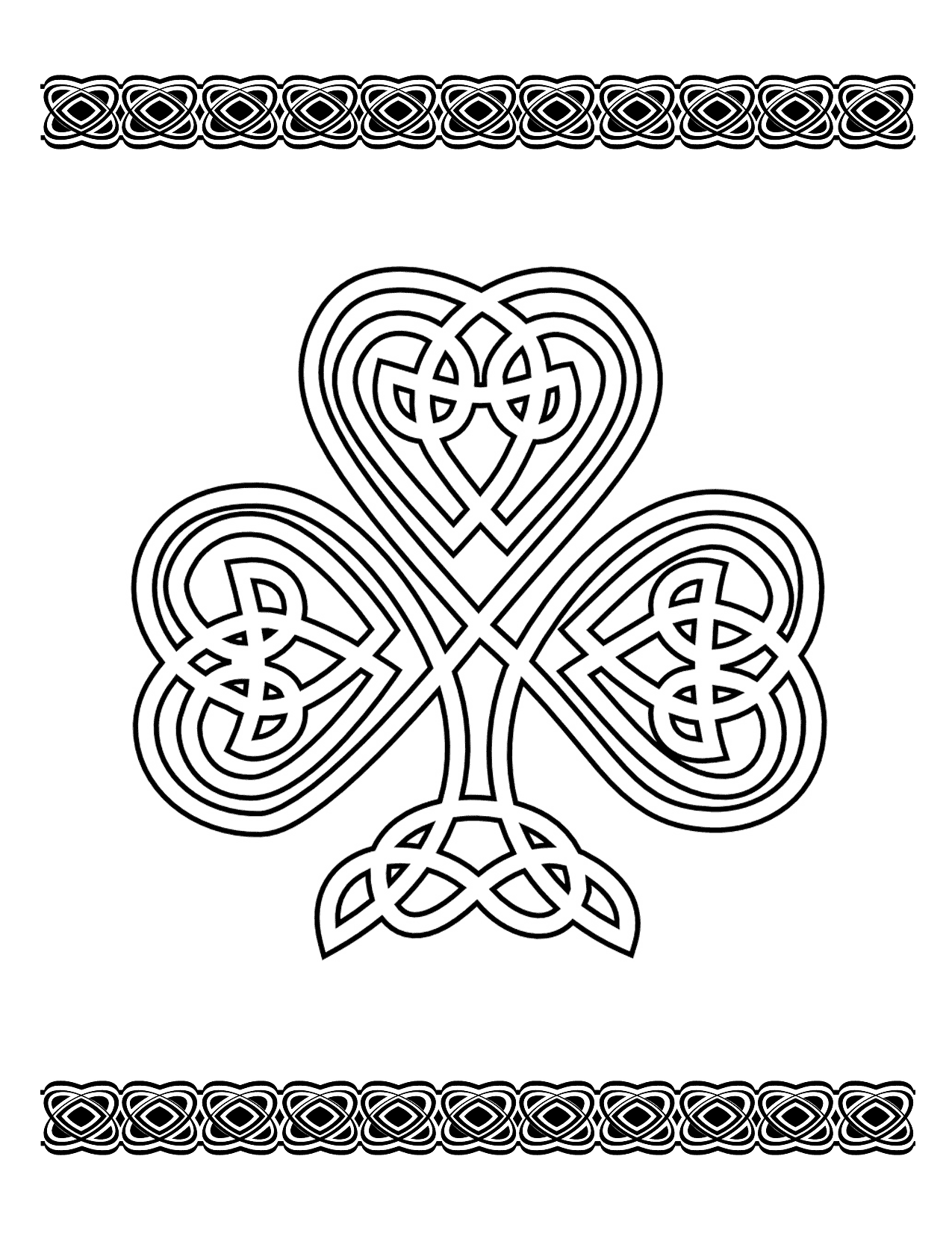 Celtic Shamrock Coloring Page