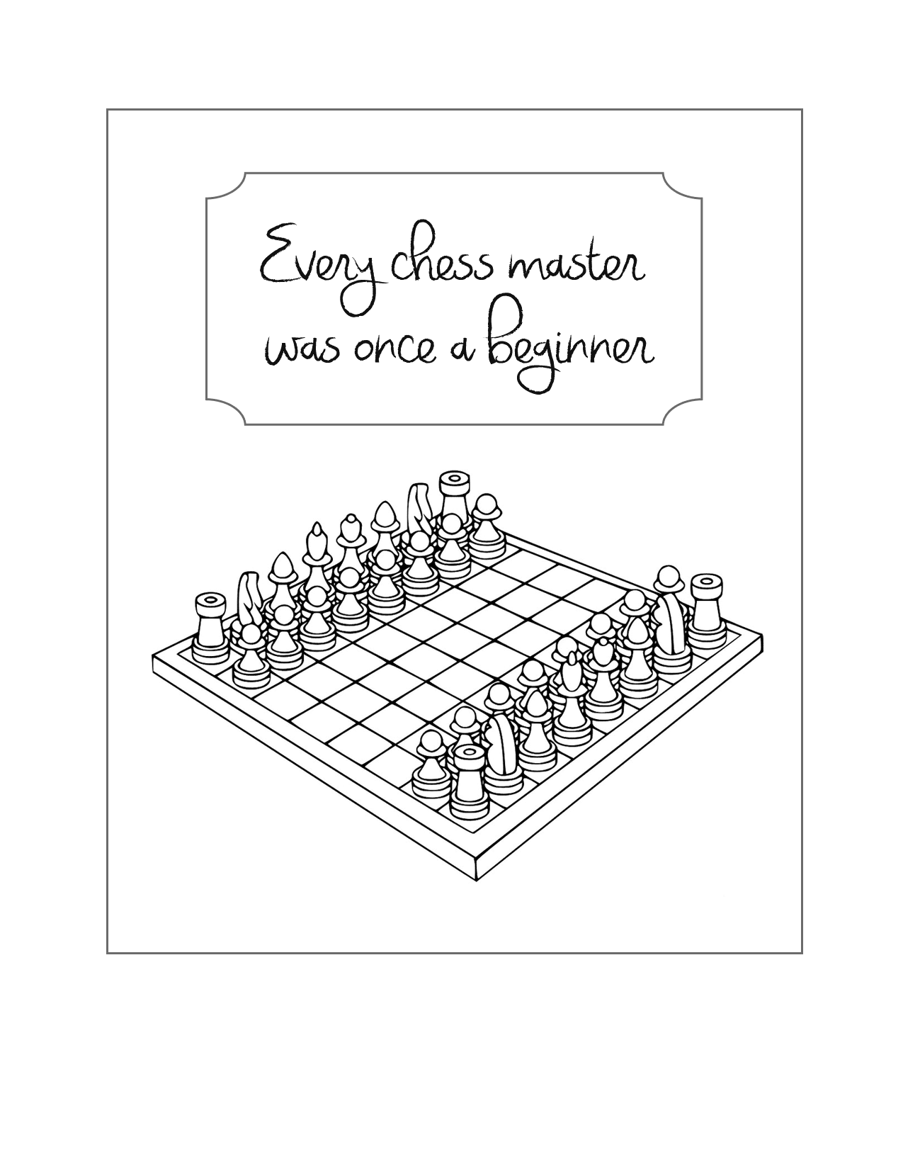 Chess Beginner Coloring Page