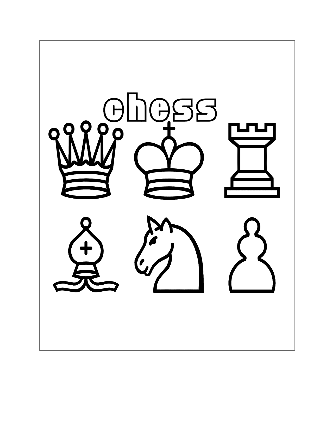 Chess Pieces Coloring Page Printable