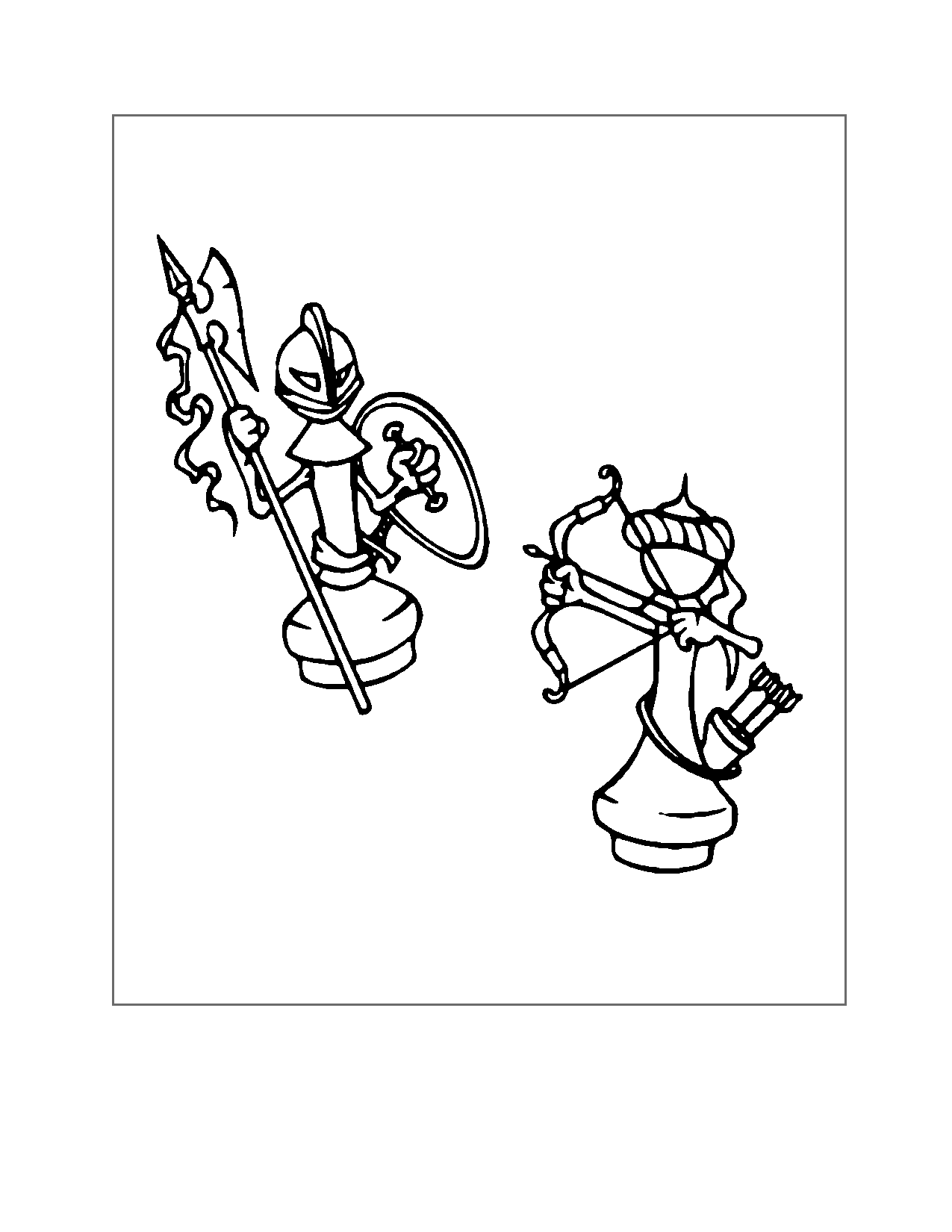 Chess Pieces Fighting Coloring Page