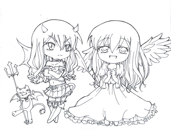 Chibi Angel and Devil Coloring Pages for Teens