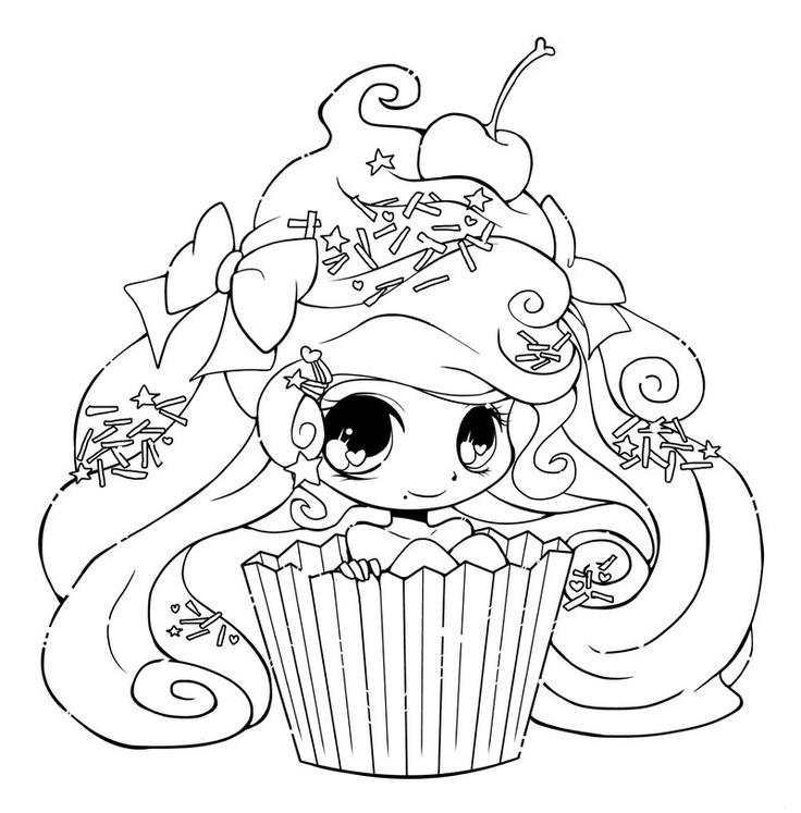 Chibi Cupcake Coloring Pages