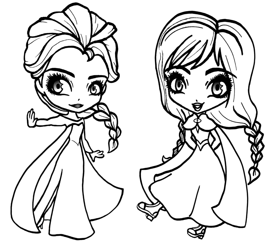 Chibi Elsa and Anna Coloring Page