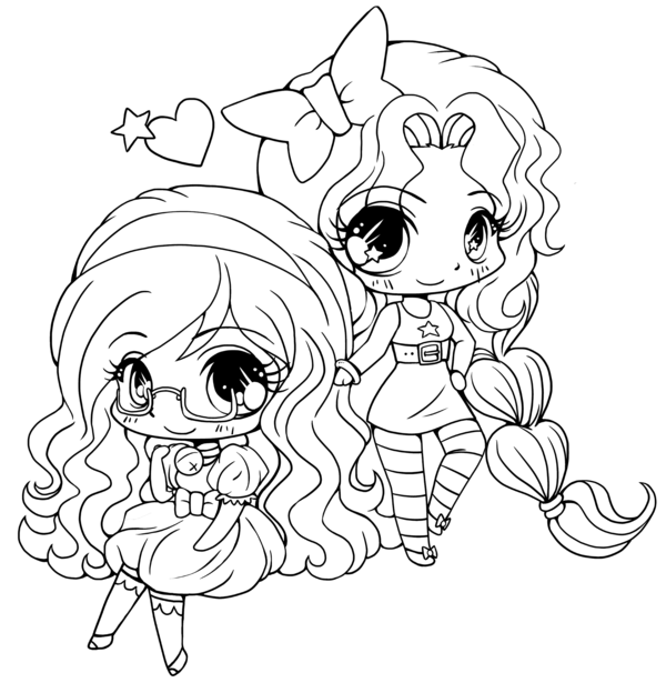 Chibi Friends Coloring Pages for Teens