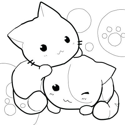 Chibi Kittie Coloring Pages for Teenagers