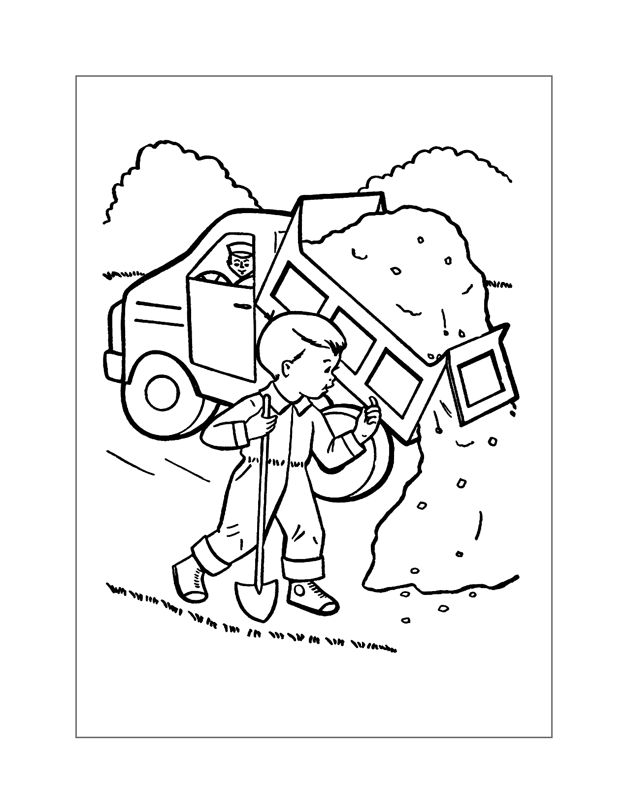 Child Helping Dump Truck Coloring Page