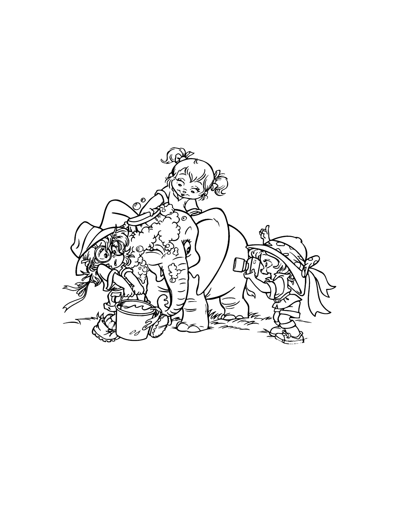Chipettes Washing Elephant Coloring Page
