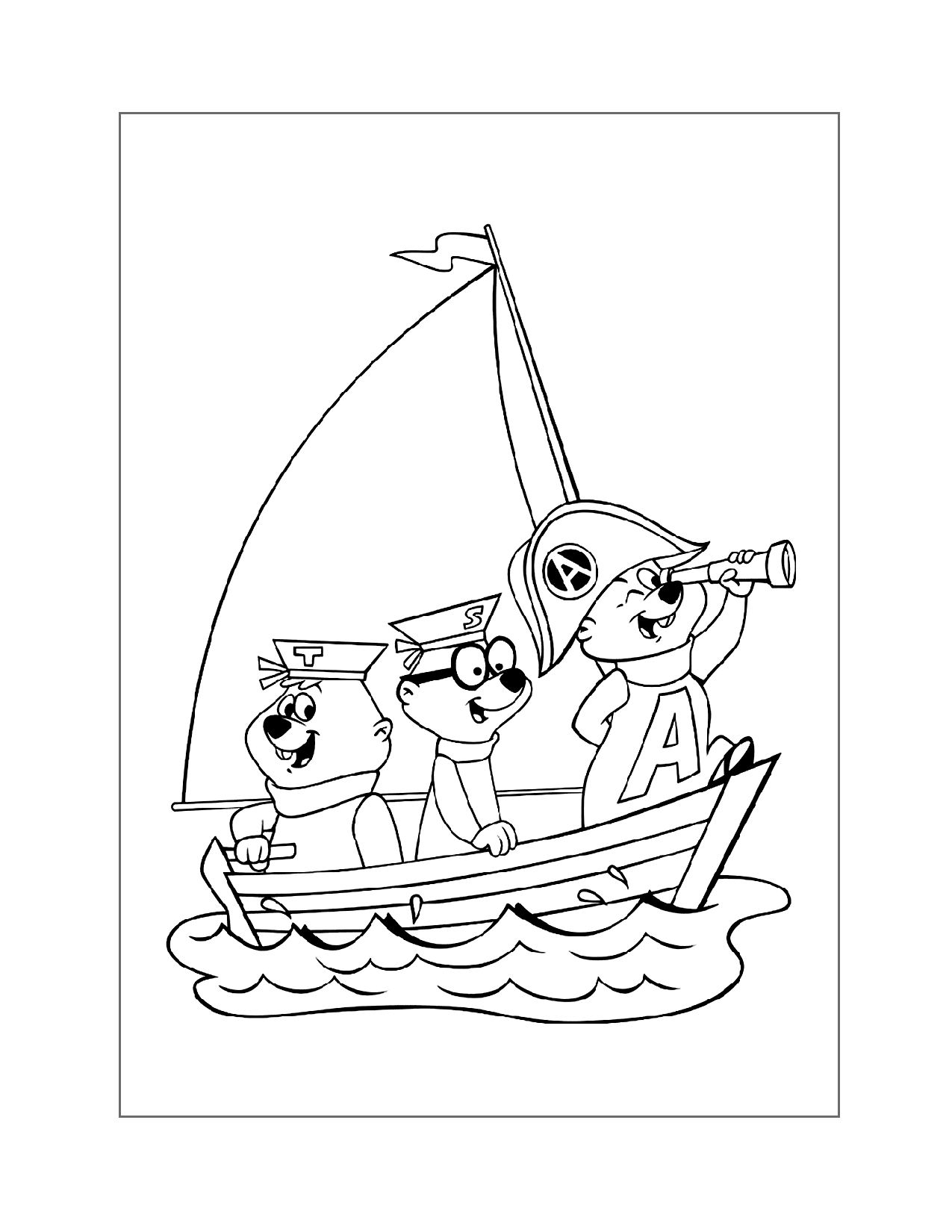 Chipmunks In A Boat Coloring Page