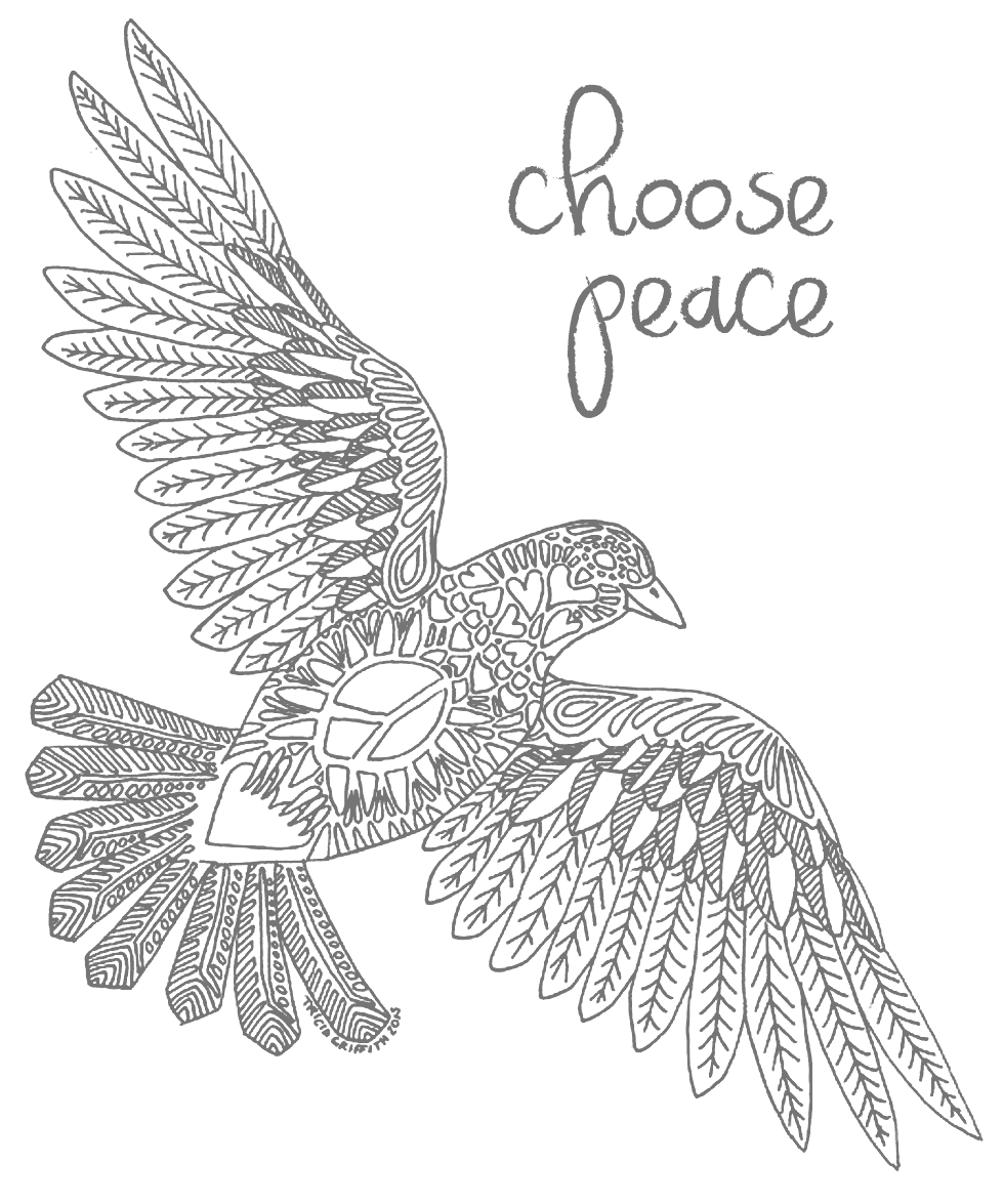 Art Therapy coloring page Peace for Paris : Live in peace with all 3 | 1175x980