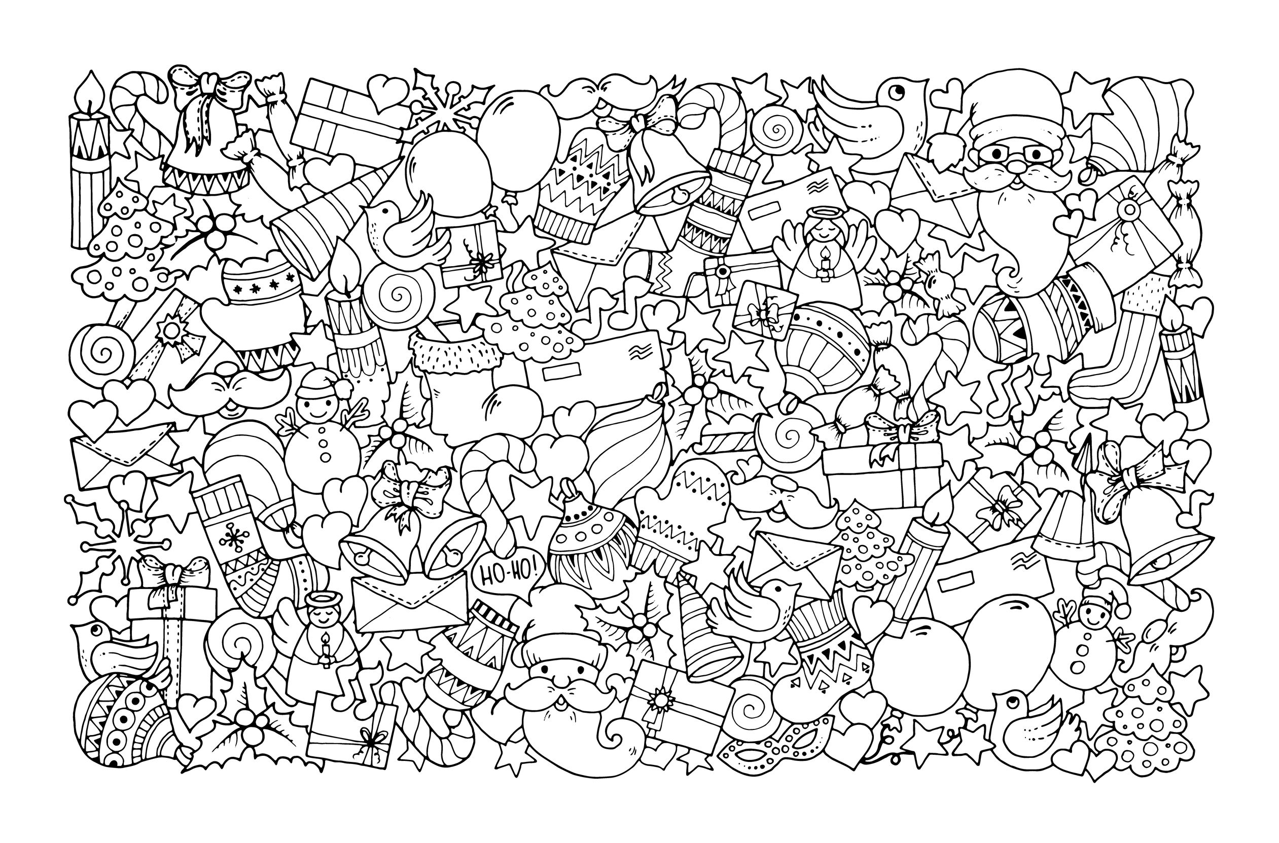 Christmas Coloring Page Design for Adults