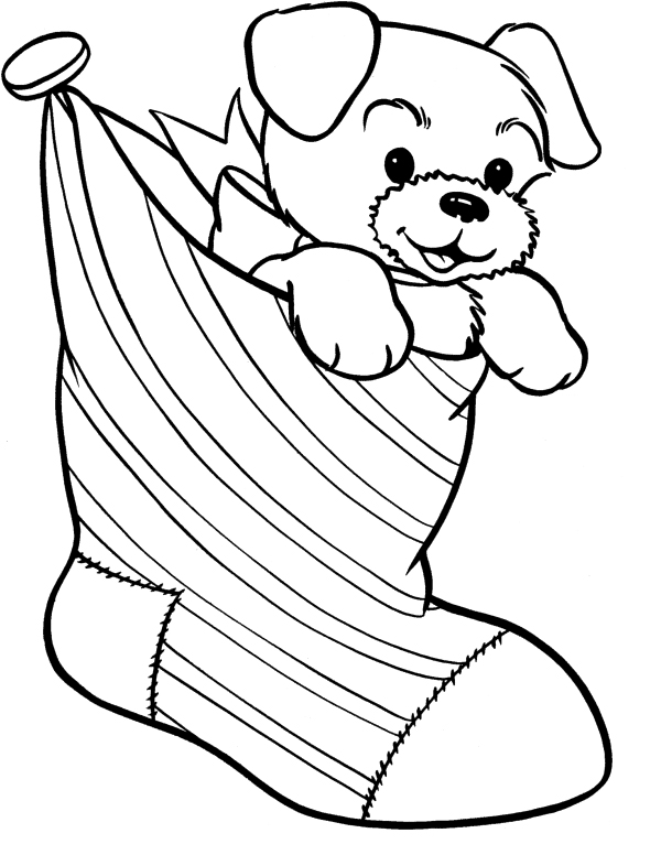 Christmas Coloring Pages - Puppy