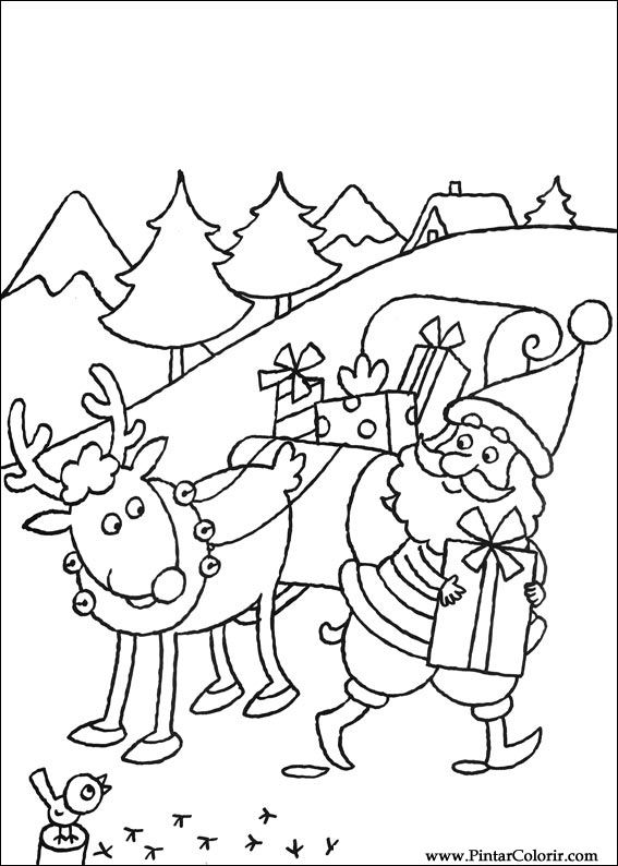 Christmas Coloring Pages - Santa and Reindeer