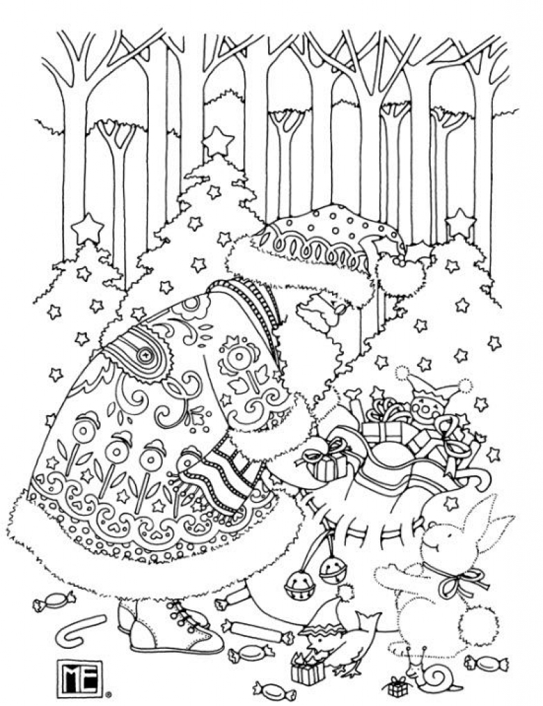 Christmas Coloring Pages Santa for Adults