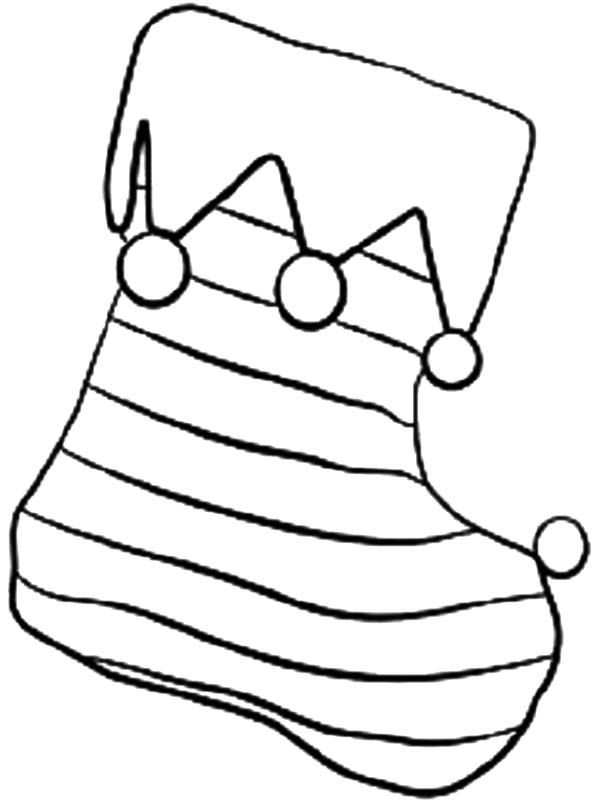 Christmas Coloring Pages - Striped stocking