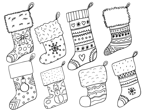 Color Christmas Stocking Coloring Page by Thaneeya | Christmas ... | 392x507