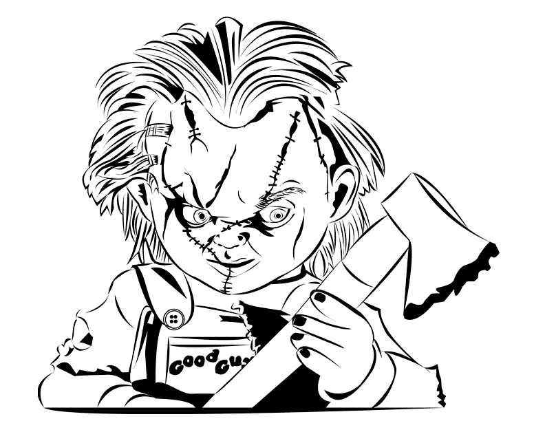 Chucky With An Axe Coloring Page