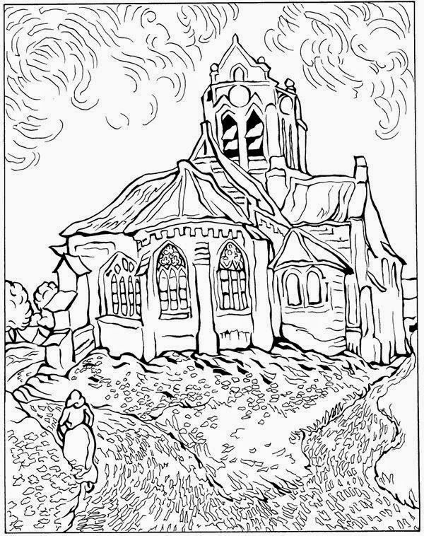 Church at Auvers Van Gogh Coloring Pages