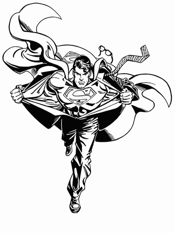 Clark Turning to Superman Coloring Page